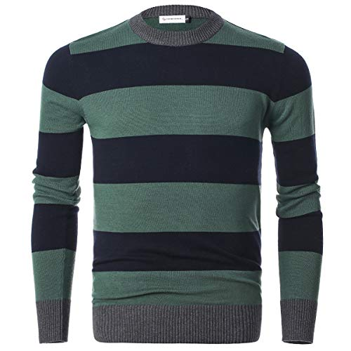 (Chain Stitch Men's Long Sleeve Striped Pullover Crew Neck Sweater Navy Green Large)