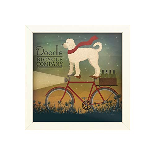 Trademark Fine Art Doodle on Bike Summer by Ryan Fowler, Distressed White Frame 16x16, Multi-Color (Best Value Hybrid Bike)