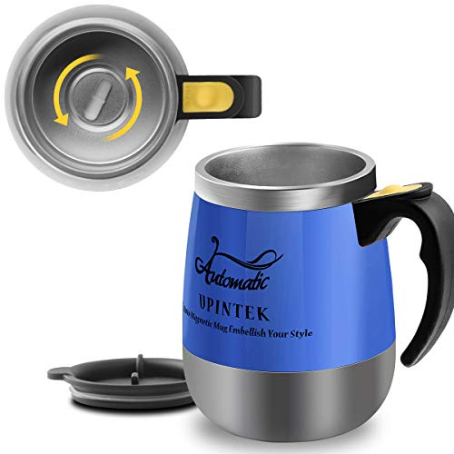 Upintek Self Stirring Coffee Mug Milk Tea Cup Vortex Mixer Electric Stir Stainless Steel Automatic Self Mixing Cup for Travel Coffee Shaker Mug Gift 450ml/15.2oz ()