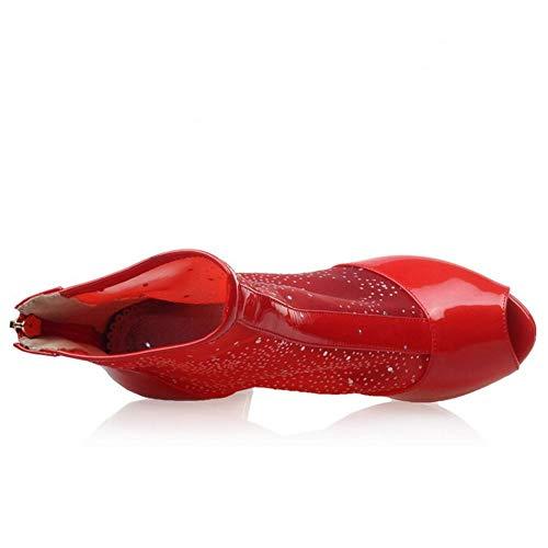 Melady Tacchi Blocco Rosso Alta Stivali Donne Caviglia Estivi Moda Cerniera 67qw1Ed