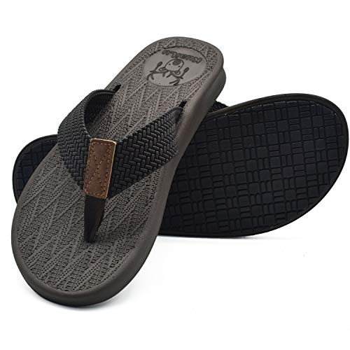 - KUAILU Mens Flip Flops Thong Sandals Yoga Foam Slippers (7 US, DBrown)