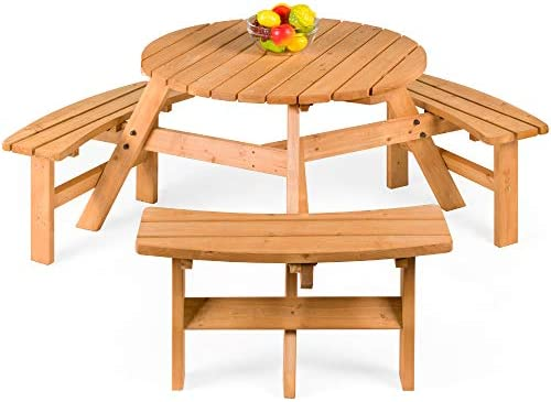 Best Choice Products 6-Person Circular Outdoor Wooden Picnic Table