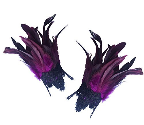 L'VOW Real Nature Feather Cuffs for Game Party Halloween Pack of 2 Purple ()