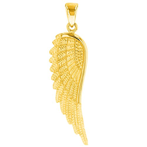 - Solid 14k Yellow Gold Textured Angel Wing Charm Pendant