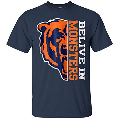 Chicago Football Fan t Shirt-Belive in Monsters Bear tee (Unisex T-Shirt;Navy;2XL)