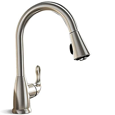 Techo Single Handle Pull-out Kitchen Faucets, High Arc Brushed Nickel Stainless Steel Faucets with Double Function (Stream and Spray) Pull-out Sprayer