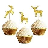 Sakolla 30Pcs Glitter Gold Christmas Deer Cupcake Topper,Christmas elk Cupcake Toppers,Deer Cake Decoration for Baby Shower Christmas Party