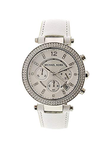 Michael Kors Women's Chronograph Parker White Leather Strap Watch 39mm ()