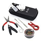 Hand DIY Tool Coil Jig Set for Wire Rebuild coils 9Pieces tools-Ni80 Heating Wire,Japanese Organic Cotton,Needle Empty Bottle 10ml,Coil Jig,Brush,Ceramic Tweezers,Pliers Great Kit (9 in 1 kit)