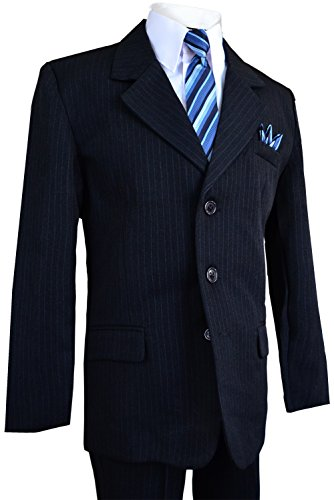Pinstripe Pants Suit (Boys Pinstripe Suit in Grey with Matching Tie Size 2-20 (14, Dark Navy Blue))