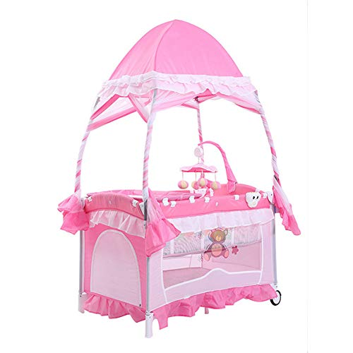 Baby Travel Bed Portable Folding Mosquito Net for 0-3 Years Old Pink