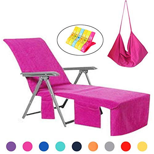 WiseHome Chaise Lounge Chair Towel Cover with Side Pockets No Towel Clips Needed Lounge Chair Mate for Swimming Pool, Sun Lounger, Hotel, Vacation Pink (Lounge Chairs Hotel Pool)