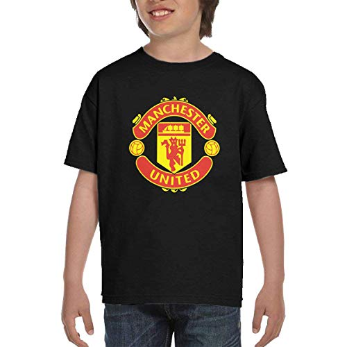Manchester United Fashion - Manchester United Youth Teen Short Sleeve T-Shirt for Boys,Girl Black M