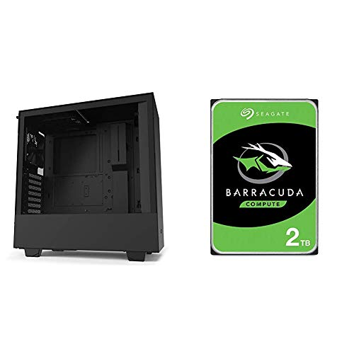 NZXT H510 - CA-H510B-B1 - Compact ATX Mid-Tower PC Gaming Case - Black & Seagate Barracuda 2TB Internal Hard Drive HDD – 3.5 Inch SATA 6Gb/s 7200 RPM 256MB Cache 3.5-Inch – Frustration Free Packaging
