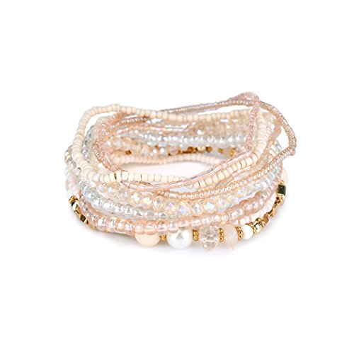lancy's jewelry Charm Bead Bracelet Bohemian Crystal Colorful Stretch Bead Multilayer Bracelets for Women&Girl White