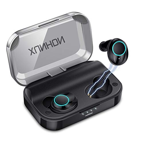 True Wireless Earbuds Bluetooth 5.0 Auto Pairing Wireless Earphones IPX7 Waterproof Sport Bluetooth Headphones with 3500Mah Charge Case and Mic HD Calls Noise Reduce Earbuds for iPhone Android Black