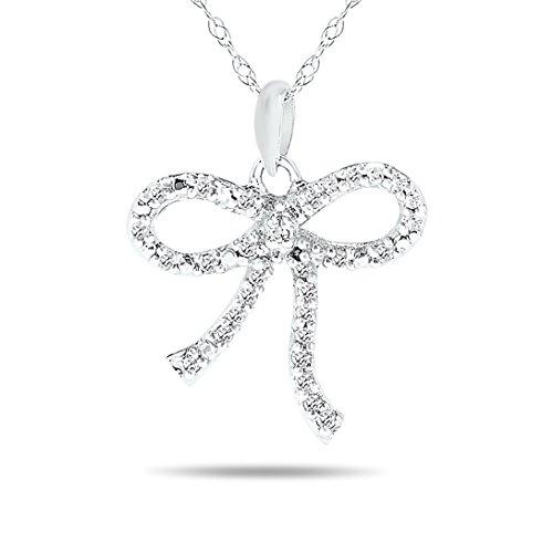 Diamond Bow Necklace (10k White Gold Knot Bow Diamond Pendant Necklace (1/10ct, L-M, I2-I3))