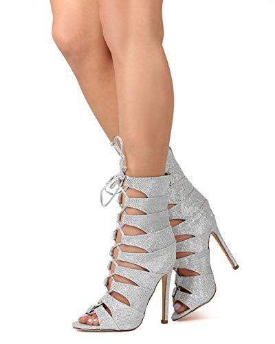 Liliana EK77 Women Glitter Peep Toe Gilly Tie Stiletto Bootie - Silver lUUVyd