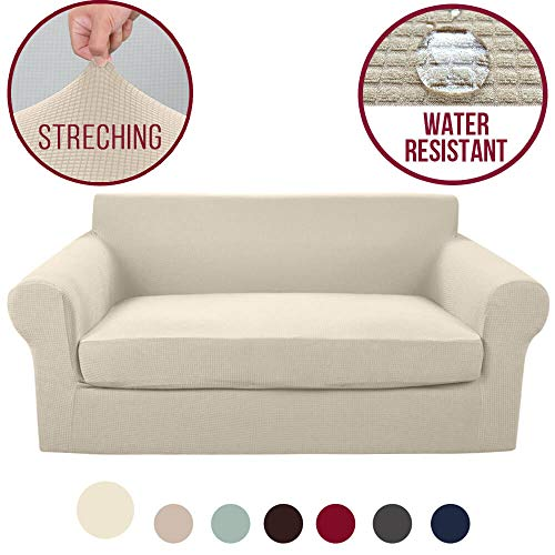 (Vailge 2-Piece High Stretch Jacquard Loveseat Cover, Water Resistant Loveseat Slipcover with Separate Cushion Cover, Machine Washable Loveseat Protector for Dogs,Kids,Pets(Loveseat:Beige))