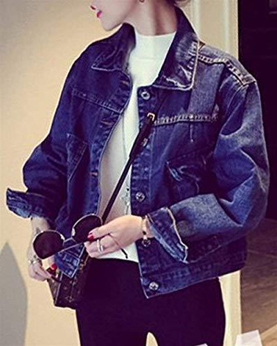 Corto Bavero Ragazza Chic Manica Blau Donna Giacche Tasche Anteriori Single Cappotto Di Elegante Lunga Autunno Breasted Jeans Casual Outwear Moda Confortevole Giacca gq1qHO6wR