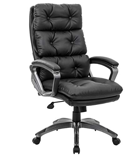 High Back Office Executive Chair - Big and Tall Back Design of Bonded Leather Desk Chair with Padded Armrest and Lumbar Support Color Black