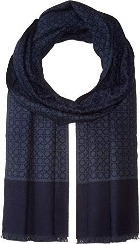 Salvatore Ferragamo Men's Gancini Scarf, Blue, One Size