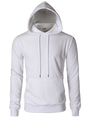 (H2H Mens Basic Slim Fit Long Sleeve Hoodie Sweatshirts White US XL/Asia 2XL (CMOHOL054))
