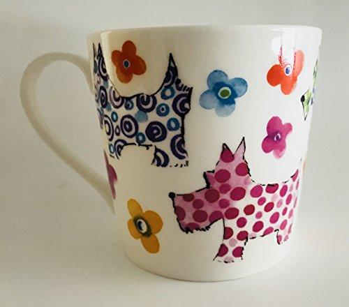 Very Colorful Scottie Dogs And Flowers Design Fine Bone China Mug | Holds 14 ounces | 3.75 inches x 3.75 inches (Fine Bone China Mug)