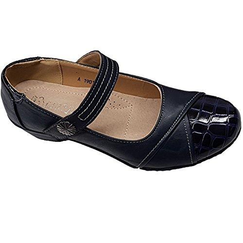 Sapphire Boutique by Sapphire Saphir Boutique @ Damen Blumen Latch Up Riemen Kunstlackleder Kroko Niedrig Keilabsatz Schuhe Blau