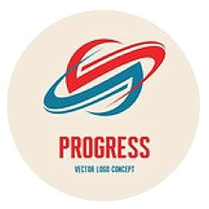 alfombrilla de ratón Progreso - logotipo. Resumen de la ilustración planeta Saturno. - ronda - 20cm