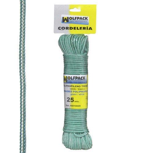 Wolfpack 16010045 Cuerda Trenzada (Polipropileno, madeja 25 m) Color Blanco y Verde A Forged Tool
