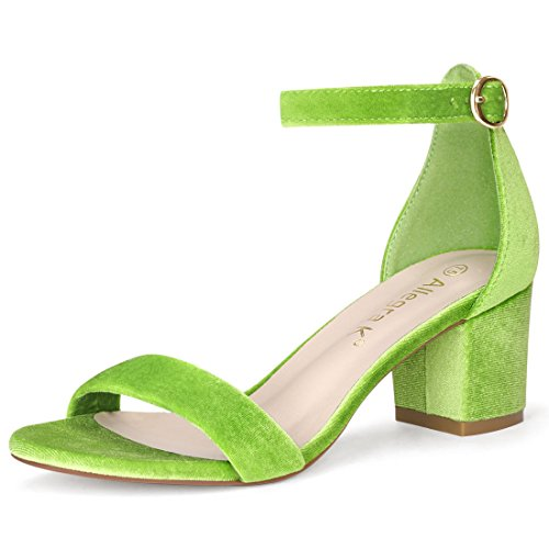 - Allegra K Women's Open Toe Block Heel Ankle Strap Sandals (Size US 7.5) Green