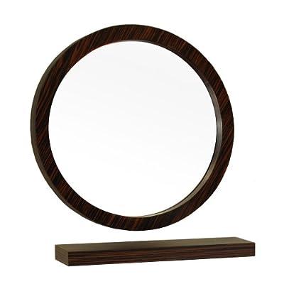 "Bellaterra Home 804338-MIRROR 21.7-Inch Round Mirror, Wood, Ebony, Zebra - Beautiful wood frame Unique zebra wood finish High quality 0.6"" thick mirror prevent rusting against bathroom humidity - bathroom-mirrors, bathroom-accessories, bathroom - 41VyMH4067L. SS400  -"