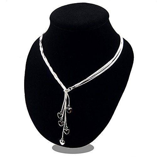 SOSUO 925 Sterling Silver Five-line Chain with Five-Heart Necklace
