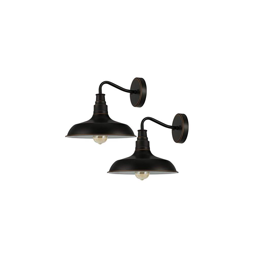 DEWENWILS 2-Pack Gooseneck Barn Light, Outdoor Wall Light Black, E26 Socket, Vintage Wall Sconce for Kitchen Sink…