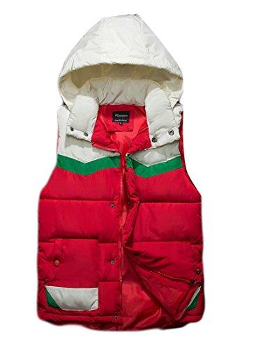 Uomini Colorblock Con Caldo Inverno Rosso Cappuccio Zip Casuale Piumino uk Di Gilet Maniche Senza Oggi Degli 5I1qwa18