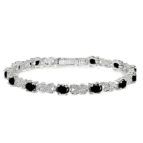 Ice Gems Sterling Silver Black Sapphire Infinity X & Oval Tennis Bracelet
