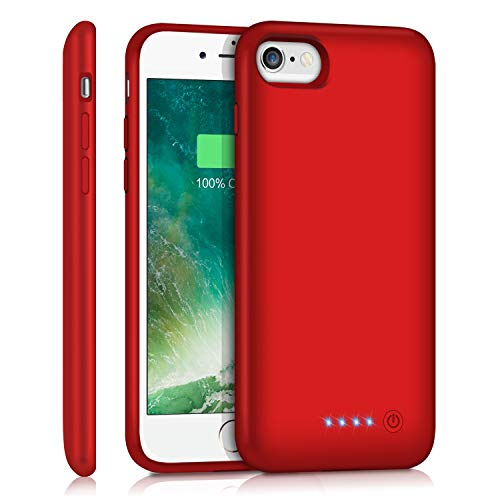 Feob Battery Case for iPhone 8/7 /6s/6, 6000mAh Portable Charging Case Extended Battery Pack for iPhone 8/7 /6s/ 6 Rechargeable Charger Case [4.7 inch]-Red