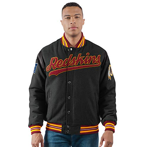 (Licensed Sports Apparel Redskins Football Big and Tall Poly Wool Snap Front Varsity Jacket 343-4XL)