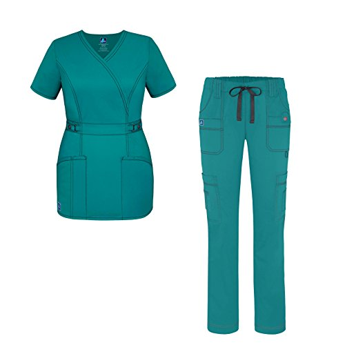 Women Scrub Set - Crossover Scrub Top and Low Rise Slim Pants - 3505 - Teal Green - XS ()