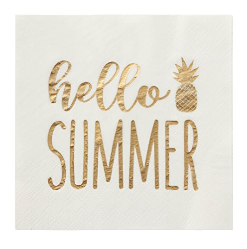 - Blue Panda 50-Pack Hello Summer Cocktail Napkins - Disposable Paper Party Supplies, 3-Ply, Gold Foil Print, Unfolded 10 x 10 inches, Folded 5 x 5 inches