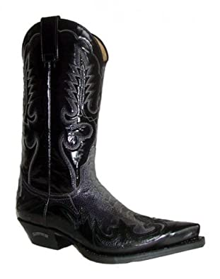 Sendra Straußenleder Cowboystiefel 7942 schwarz, Schuhgröße