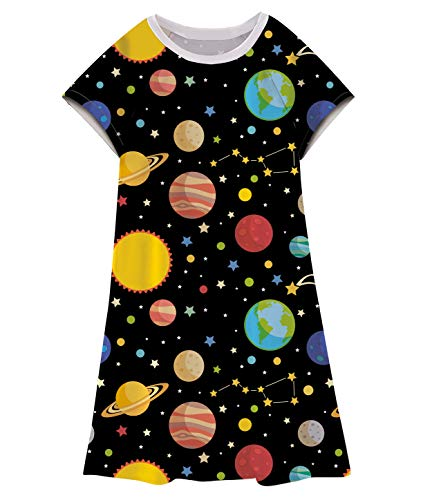 Little Girls Space Sundresses Black Planets Pattern Vintage Dresses Fantastic Galaxy Sky Graphic Dresses for Daily Birthday Party 7-8T -