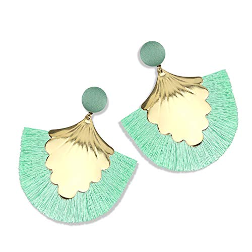 Statement Tassel Earrings for Women Drop Dangle Handmade Tiered Thread Layered Bohemian Beach Party Girl Novelty Fashion Summer Accessories - E2 Turquoise