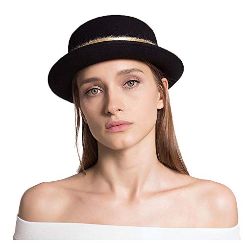 ZHANCHANG Autumn Winter Wool Top Hat British Retro Dome Quick Hat Black Hat Red Camel Hat