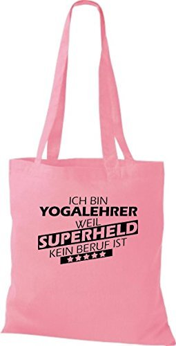 Shirtstown Bolso de tela Estoy Profesor de yoga, weil Superheld sin Trabajo ist Rosa