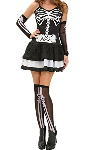BYY 3pcs Sexy Skeleton Halloween Masquerade (Wonder Twins Halloween Costume)