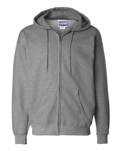 Ash Zippered Sweatshirt - Hanes 10 oz ULTIMATE COTTON Full-Zip Fleece Hood