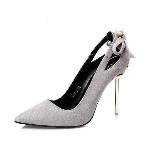 GAOLIXIA Gamuza Tacones altos Moda femenina Pearl Hollow Stilettos Color puro Bajo Zapato de ayuda Street Primavera, Verano y Otoño Gray