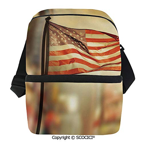 SCOCICI Thermal Insulation Bag American Flag Waving in